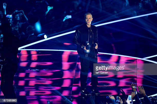 Eminem accepts the Best Hip Hop award onstage during the MTV EMA's 2013 at the Ziggo Dome on November 10 2013 in Amsterdam Netherlands
