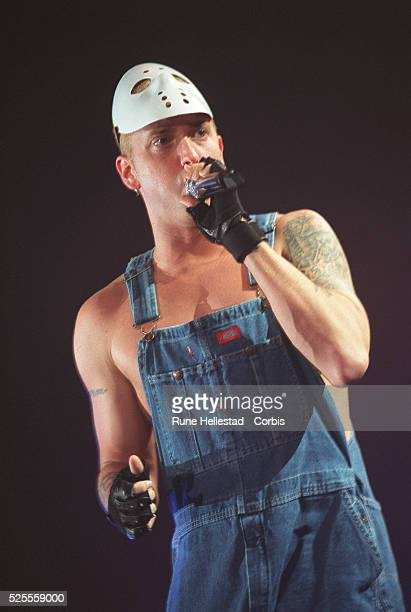 Eminem aka the Real Slim Shady wearing his customary icehockey mask while in concert in London The controversial rappers's 3 UK concerts were all...