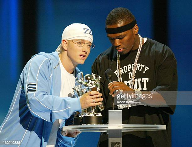 Eminem and 50 Cent accept the award for Best Rap Video at the 2003 MTV Video Music Awards