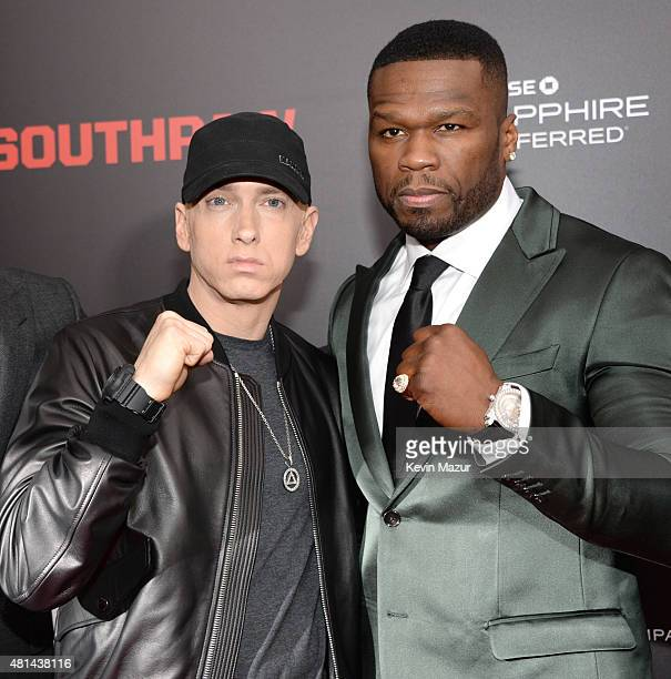 Eminem and 50 Cent attend the Southpaw New York premiere at AMC Loews Lincoln Square on July 20 2015 in New York City