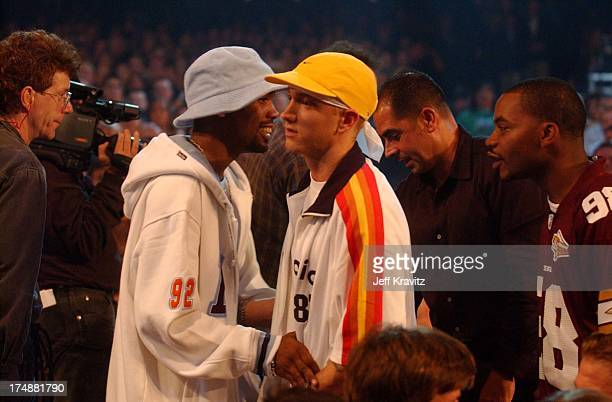 Eminem and Deshaun Holton AKA Proof of D12 during 2002 MTV Video Music Awards Show at Radio City Music Hall in New York City New York United States
