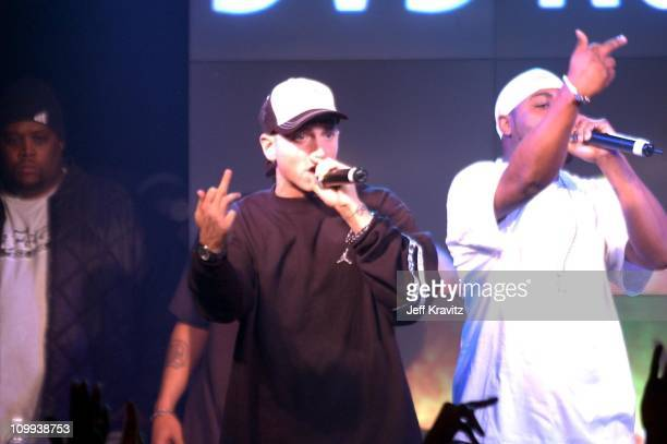 Eminem and Deshaun Holton AKA Proof of D12 during Universal 8 Mile DVD Release Party at Saint Andrew's Hall in Detroit MI United States