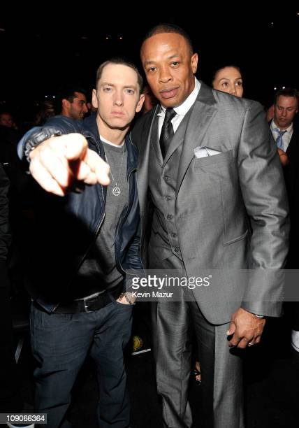 Eminem and Dr Dre attends The 53rd Annual GRAMMY Awards held at Staples Center on February 13 2011 in Los Angeles California