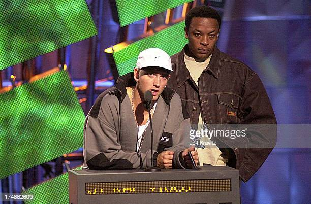Eminem and Dr Dre during MTV VMA 2000 Stage at Radio City Music Hall in New York City New York United States