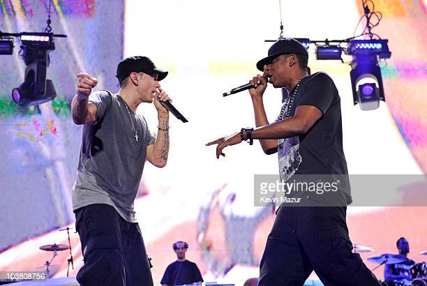 Eminem and JayZ perform at Comerica Park on September 2 2010 in Detroit Michigan
