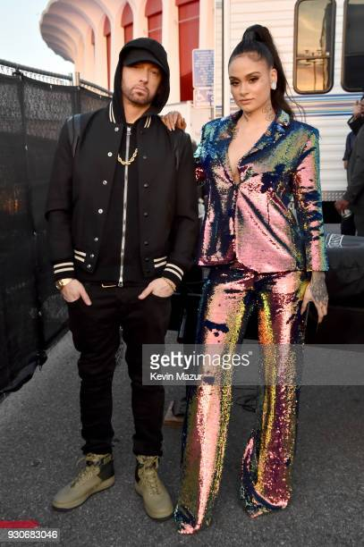 Eminem and Kehlani during the 2018 iHeartRadio Music Awards which broadcasted live on TBS TNT and truTV at The Forum on March 11 2018 in Inglewood...