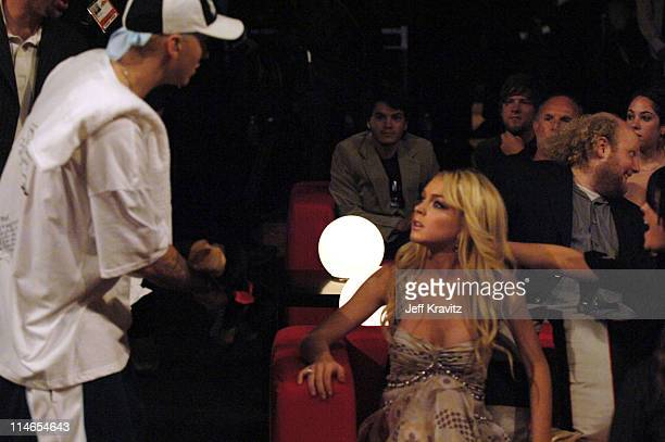 Eminem and Lindsay Lohan during 2005 MTV Movie Awards Show at Shrine Auditorium in Los Angeles California United States