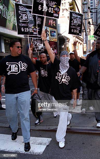 Eminem and Members of D12 during Eminem Marches in Times Square to Promote his New Group D12 at Times Square in New York City New York United States