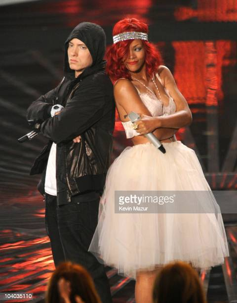 Eminem and Rihanna perform on stage at the 2010 MTV Video Music Awards held at Nokia Theatre LA Live on September 12 2010 in Los Angeles California