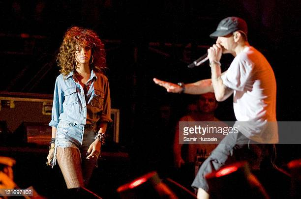 Eminem and special guest Rihanna headline the V Stage on day 2 of the V Festival at Hylands Park on August 21 2011 in Chelmsford England