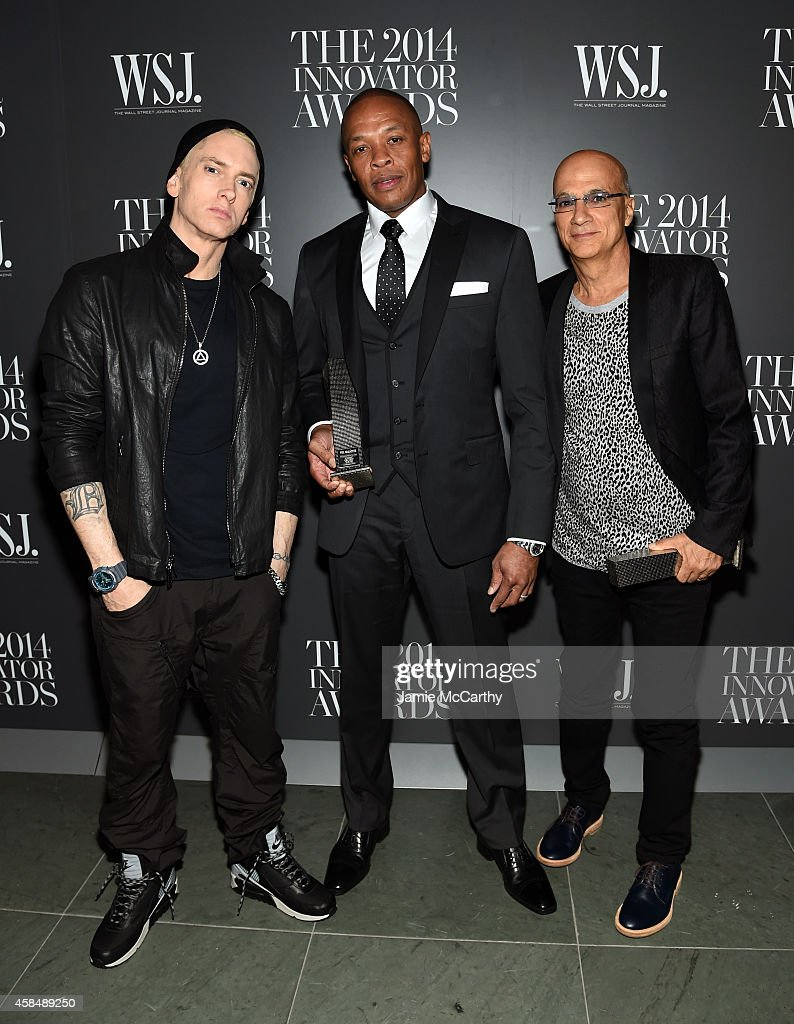 Eminem, Dr. Dre and Jimmy Iovine attend WSJ. Magazine 2014 Innovator Awards at Museum of Modern Art on November 5, 2014 in New York City.