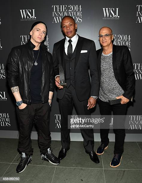 Eminem Dr Dre and Jimmy Iovine attend WSJ Magazine 2014 Innovator Awards at Museum of Modern Art on November 5 2014 in New York City