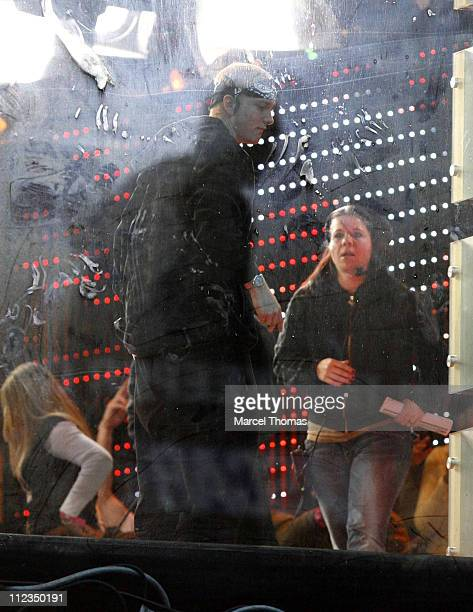 Eminem during Eminem and 50 Cent Appearing and Performing on MTV's TRL December 4 2006 at MTV Studios Times Square in New York City New York United...