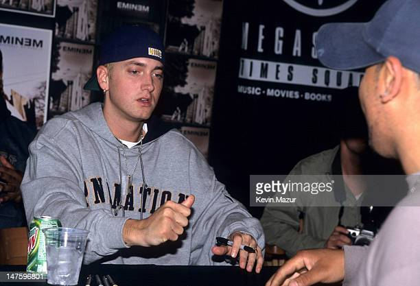 Eminem during Eminem signing his new release Marshall Mathers LP at Virgin Record Store Times Square in New York City New York United States