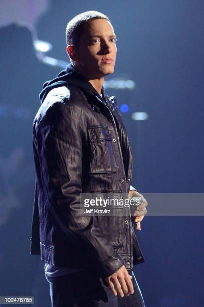 Eminem onstage during the 2010 BET Awards held at the Shrine Auditorium on June 27 2010 in Los Angeles California