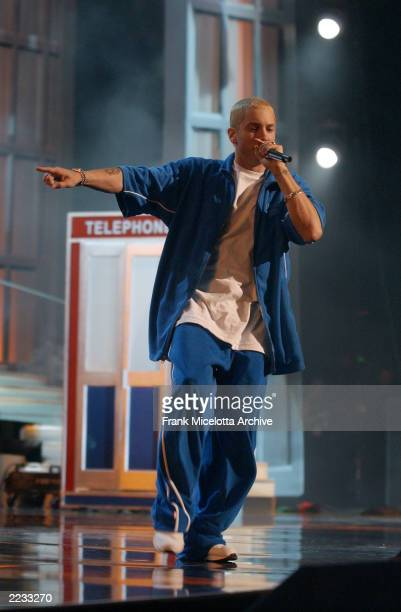Eminem performing on the 2002 MTV Movie Awards at the Shrine Auditorium in Los Angeles Ca 6/1/02 Photo by Frank Micelotta/ImageDirect