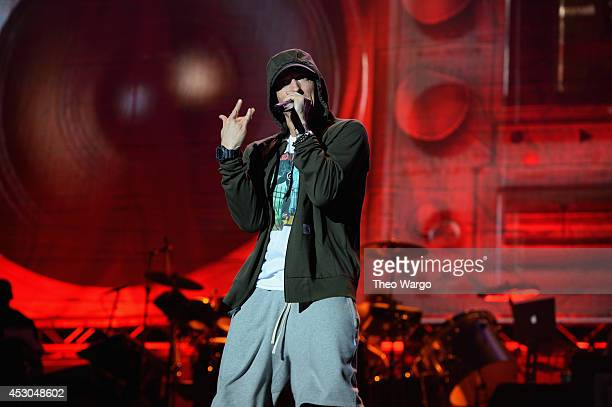 Eminem performs at Samsung Galaxy stage during 2014 Lollapalooza Day One at Grant Park on August 1 2014 in Chicago Illinois