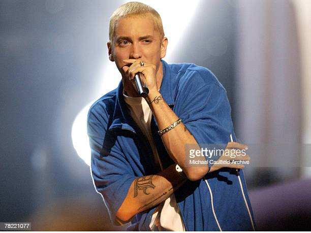 Eminem performs at the 2002 MTV Movie Awards at the Shrine Auditorium in Los Angeles