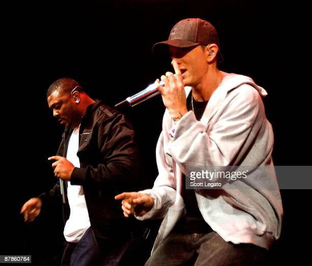 Eminem performs during a free MySpace Music concert to celebrate the release of 'Relapse' at the MotorCity Casino's Sound Board Theater May 19 2009...