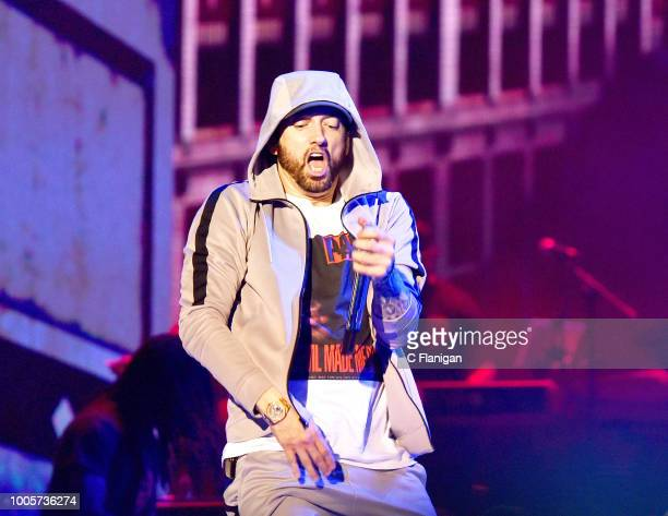 Eminem performs during the 2018 Bonnaroo Music & Arts Festival on June 9, 2018 in Manchester, Tennessee.