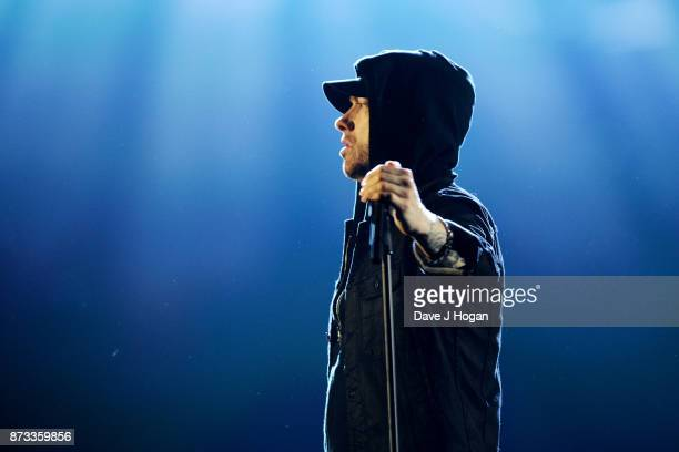 Eminem performs on stage during the MTV EMAs 2017 held at The SSE Arena Wembley on November 12 2017 in London England