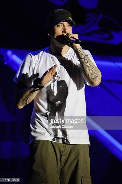 Eminem performs on stage on Day 2 of Reading Festival 2013 at Richfield Avenue on August 24 2013 in Reading England