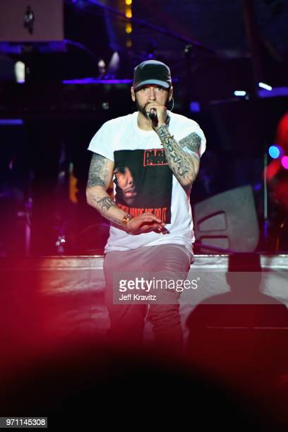Eminem performs on What Stage during day 3 of the 2018 Bonnaroo Arts And Music Festival on June 9, 2018 in Manchester, Tennessee.