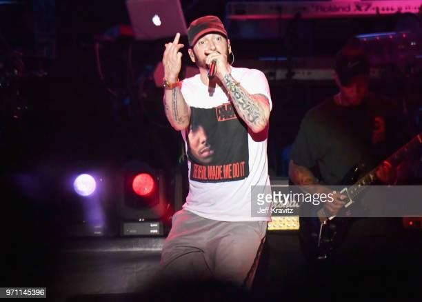 Eminem performs on What Stage during day 3 of the 2018 Bonnaroo Arts And Music Festival on June 9 2018 in Manchester Tennessee