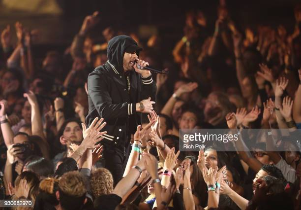 Eminem performs onstage during the 2018 iHeartRadio Music Awards which broadcasted live on TBS TNT and truTV at The Forum on March 11 2018 in...