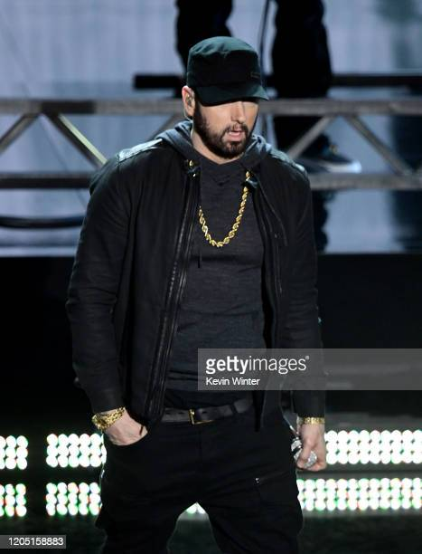 Eminem performs onstage during the 92nd Annual Academy Awards at Dolby Theatre on February 09 2020 in Hollywood California