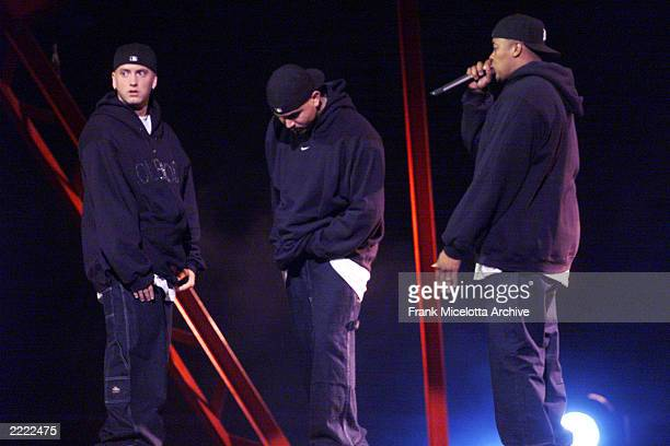 Eminem performs performes with Dr. Dre during the 1999 MTV Music Video Awards held at the Metropolitan Opera House, Lincoln Center in New York City...