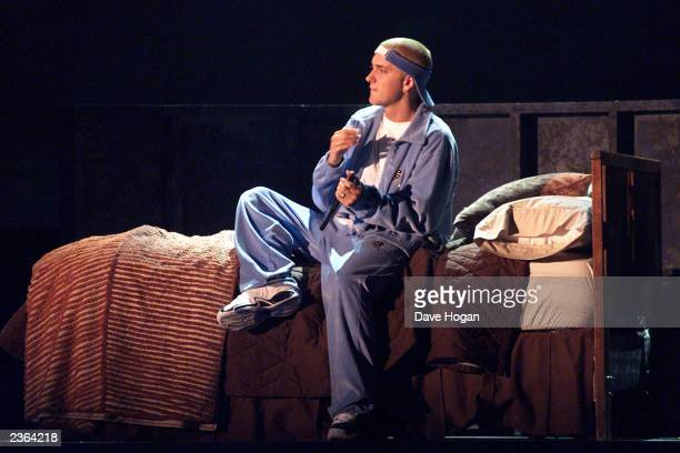 Eminem performs with Elton John at the 43rd Annual Grammy Awards at Staples Center in Los Angeles CA on February 21 2001 Photo credit Dave...