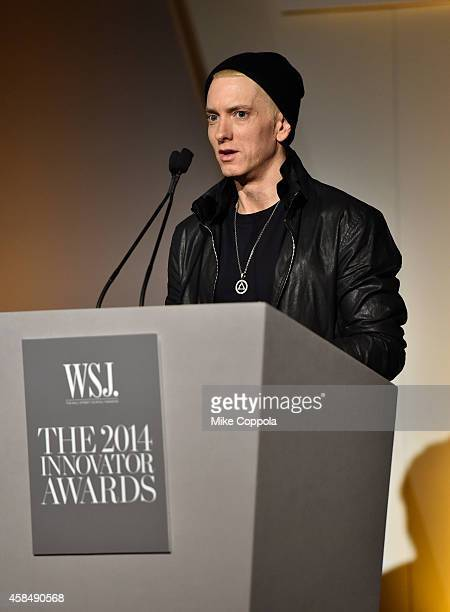 Eminem speaks onstage at WSJ. Magazine 2014 Innovator Awards at Museum of Modern Art on November 5, 2014 in New York City.