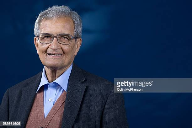 Eminent Indian economist and philosopher Amartya Sen pictured at the Edinburgh International Book Festival where he talked about his new book...