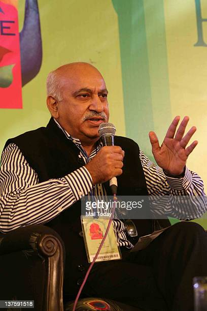 Eminent journalist MJ Akbar speaks at the session Gandhi Ambedkar and the Crossroads at Jantar Mantar' moderated by Urvashi Butalia during DSC Jaipur...