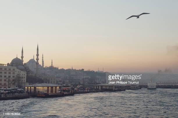 eminönü district and galata bridge at dusk, view from the golden horn, istanbul, turkey - istanbul stock-fotos und bilder