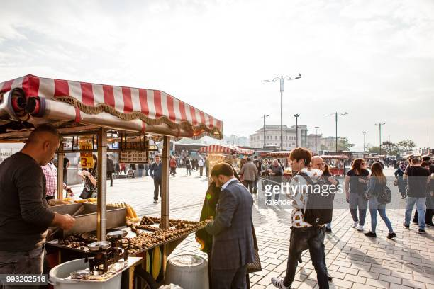 eminönü square in istanbul - chestnut food stock pictures, royalty-free photos & images
