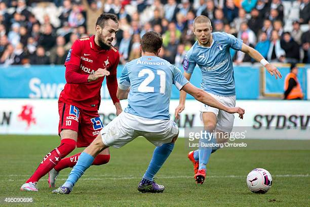 Emir Kujovic and Kari Arnason and Anton Tinnerholm during the match between Malmo FF and IFK Norrkoping at Swedbank Stadion on October 31 2015 in...