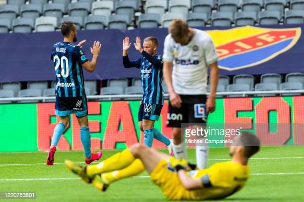 Emir Kujovic of Djurgardens IF celebrates scoring the 1-0 goal during an Allsvenskan match between Djurgardens IF and Orebro SK at Tele2 Arena on...