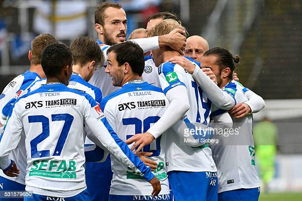 Emir Kujovic of IFK Norrkoping gives Sebastian Andersson of IFK Norrkoping a hug after the 20 goal during the Allsvenskan match between IFK...