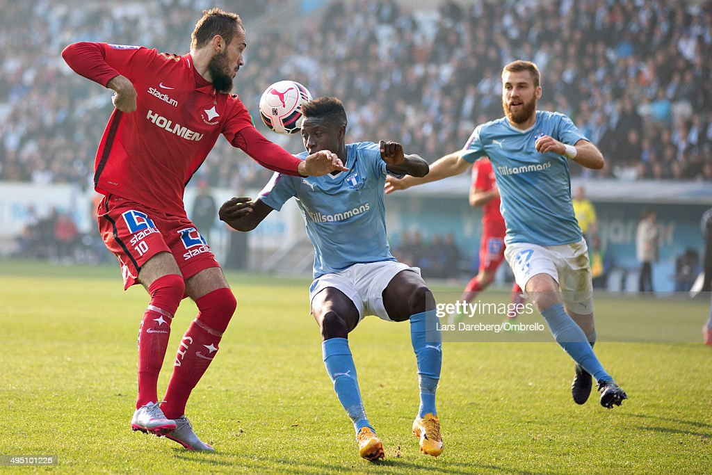 Emir Kujovic, Pa Konate and Rasmus Bengtsson during the match between Malmo FF and IFK Norrkoping at Swedbank Stadion on October 31, 2015 in Malmo, Sweden.