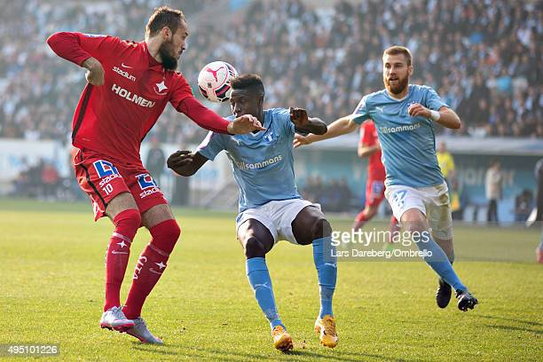 Emir Kujovic Pa Konate and Rasmus Bengtsson during the match between Malmo FF and IFK Norrkoping at Swedbank Stadion on October 31 2015 in Malmo...
