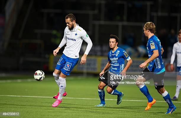 Emir Kujovic Sead Haksabanovic and during the IFK Norrkoping vs Halmstad BK - Allsvenskan match at Nya Parken on October 25, 2015 in Norrkoping,...
