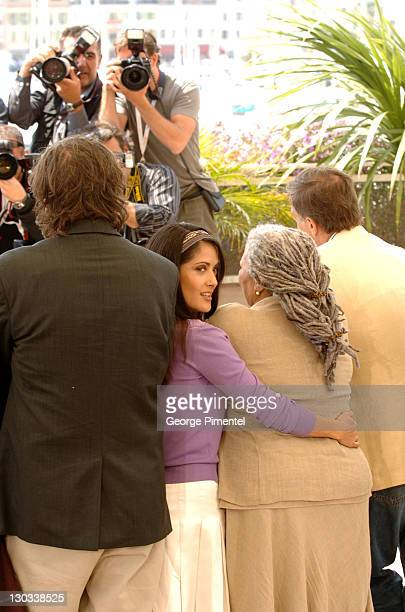 Emir Kusturica Salma Hayek and Toni Morrison during 2005 Cannes Film Festival Cannes Jury Photo Call at Palais Du Festival in Cannes France