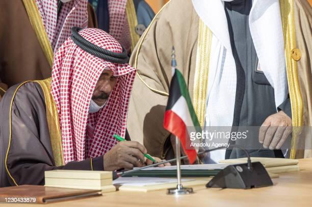 Emir of Kuwait Nawaf Al-Ahmad Al-Jaber Al-Sabah attends the 41st Summit of Gulf Cooperation Council in AlUla, Saudi Arabia on January 05, 2021.