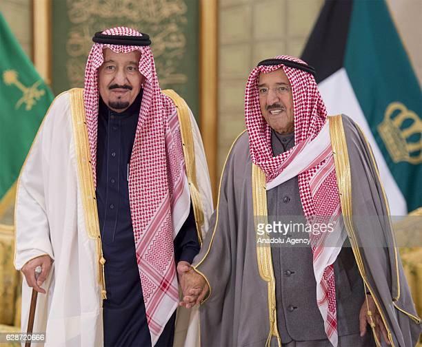 Emir of Kuwait Sabah AlAhmad AlJaber AlSabah and Saudi Arabia's king Salman bin Abdulaziz Al Saud are seen during their meeting at the Bayan Palace...