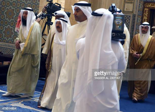 Emir of Kuwait Sheikh Sabah alAhmad alJaber alSabah and parliament speaker Marzouq alGhanim arrive to perform Friday prayers as Sunni and Shiite...