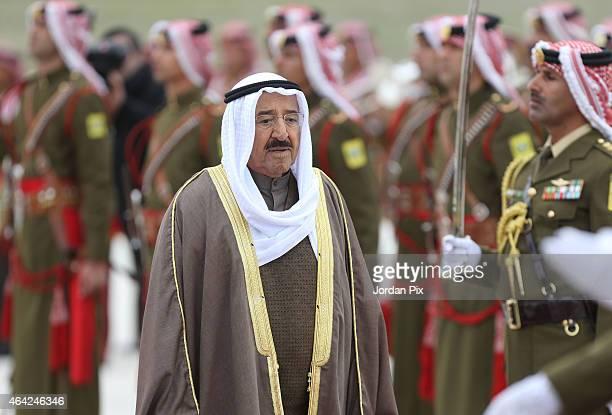 Emir of Kuwait Sheikh Sabah AlAhmad AlJaber AlSabah arrives for a visit to Amman for talks with King Abdullah II of Jordan on February 23 2015 in...