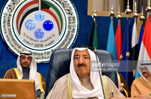 Emir of Kuwait Sheikh Sabah alAhmad alJaber alSabah chairs the second day of an international conference for reconstruction of Iraq in Kuwait City on...