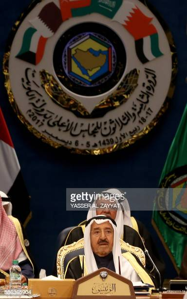 Emir of Kuwait Sheikh Sabah alAhmad alSabah attends the Gulf Cooperation Council summit at Bayan palace in Kuwait City on December 5 2017 The Gulf...